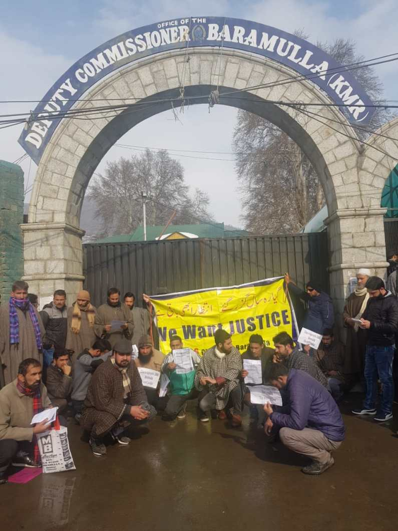 Class 4th aspriants protests against DC Baramulla