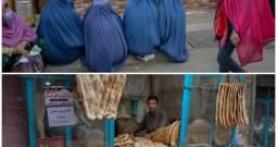 Women wait for free bread in front of a bakery in Kabul