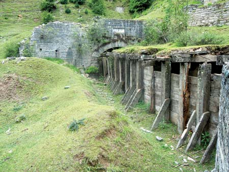 The wooden head race channel of the Mohra power station near Uri. This station, the second in subcontinent, was basically started to power the dredging machines.