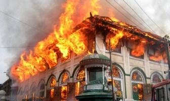 The burning Shrine[Photo: Bilal Bahadur]