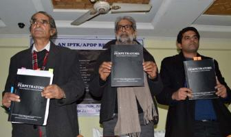 Independent lawyers and human rights activists on Thursday released a report which implicates 500 security officials in Kashmir for their alleged role in human rights violation -- Photo: Bilal Bahadur