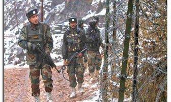Soldiers patrolling near LoC Fence