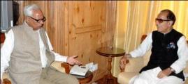 Prof. Saif-ud-Din Soz, President, JKPPCC and Member of Parliament Calls Governor, Mr. N. N. Vohra at Raj Bhavan Srinagar-24