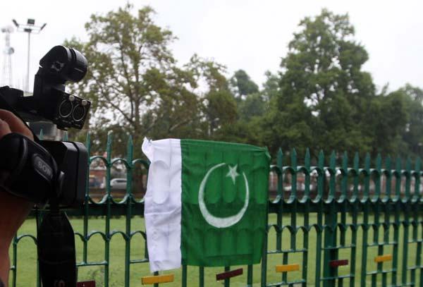 Pakistani flag appears at Partap Park in Srinagar this morning.
