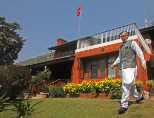 J&K Chief Minister, Omar Abdullah walking towards the newspersons in his Gupkar residence in Srinagar. Abdullah convened hurriedly press conference in the ongoing encounter in Army camp in Samba.