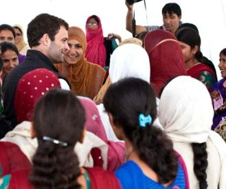 Rahul Gandhi interacting with Umeed beneficiaries in Budgam on Thursday.