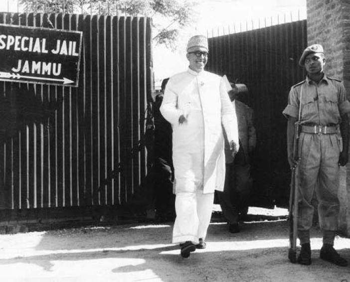 Sheikh Mohammad Abdullah coming out of  the jail in Jammu.