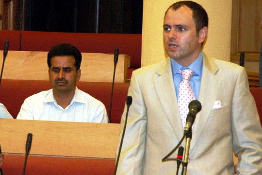 CM Omar Abdullah making a speech during budget session.