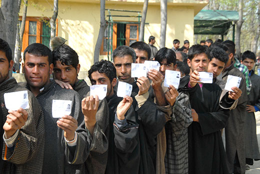 People lined up for polling in this file pic.