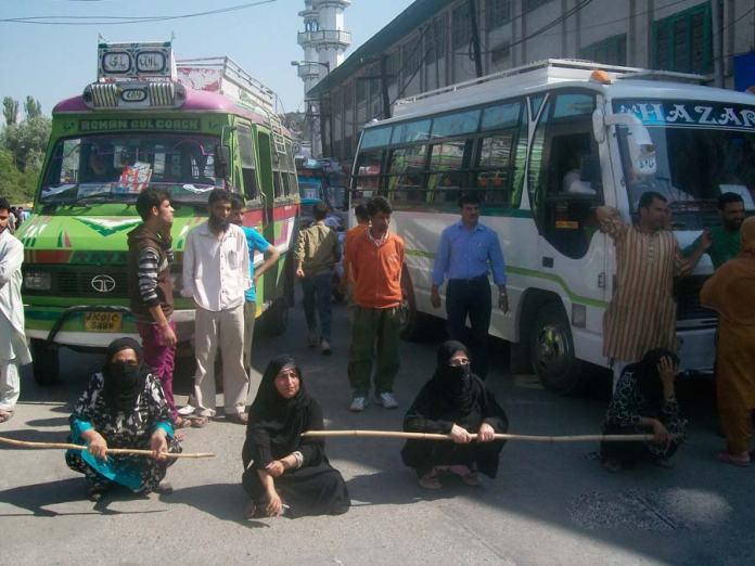 Women protesting against the water scarcity near Naaz Cinema. (KL file Image: Bilal Bahadur)