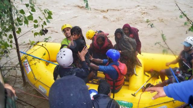 NDRF during flood rescue operation.