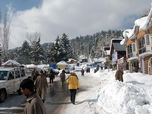 Picturesque view of  snow drapped Tangmarg town during winter.