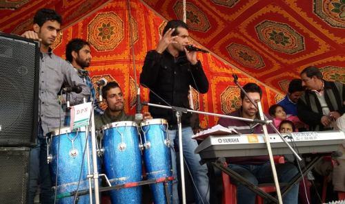 Srinagar based six member rock band 'Valley Boys India' performing during BJP rally in Harnag, Kulgam.