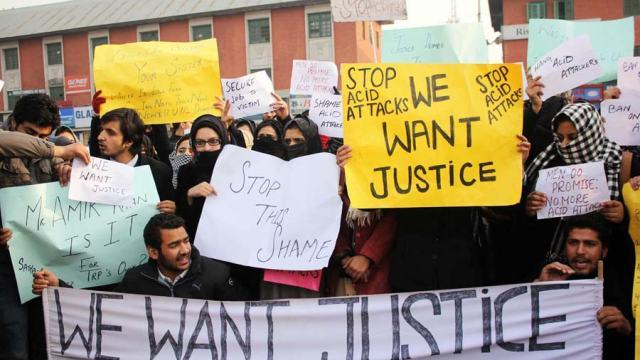 Representational photo showing students protesting against acid attack on a girl student in Srinagar. Pic: Bilal Bahadur.
