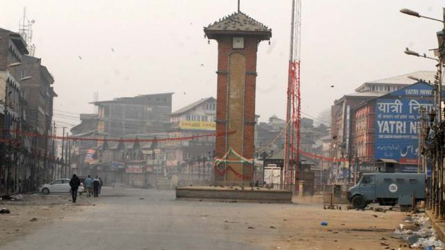 A view of Lal Chowk at 10:30 am