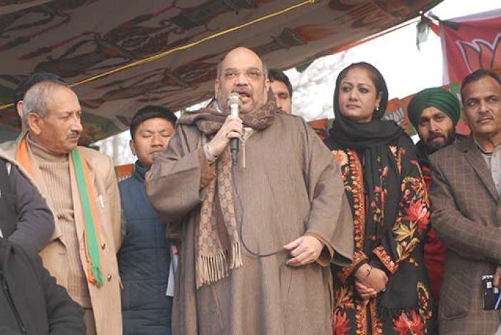 Amit Shah during his maiden rally in Srinagar. Pic: Bilal Bahadur