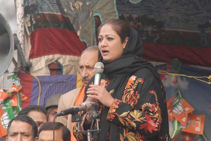 Dr Hina Bhat of BJP addressing public rally in Srinagar. Pic: Bilal Bahadur