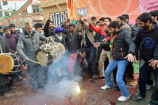 BJP supporters celebrating the party win.