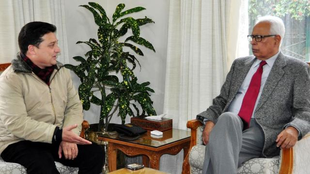 MLA-elect Ganderbal, Sheikh Ishfaq Jabbar in a meet with Governor at Jammu on Wednesday.