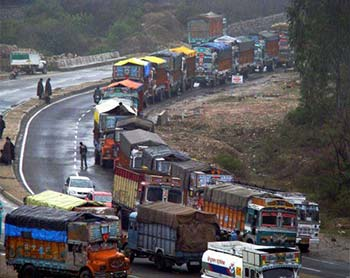 Vehicles stranded on Jammu-Srinagar Highway in this file pic.