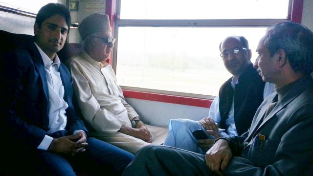 Dr Farooq travelled in train from Nowgam to Islamabad.