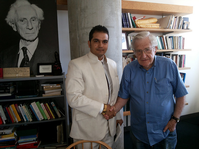 Mehboob Makhdoomi and Professor Noam Chomsky during interaction in MIT, USA