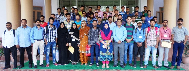 Himayat trianees pose for a group photograph outside JKEDI Pampore Campus.