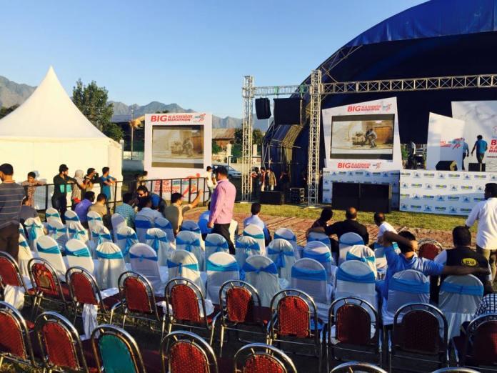 "Before the prize distribution ceremony at ""Big Kashmir Marathon"""