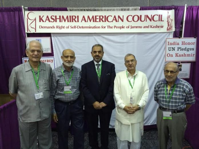 Lord Nazir Ahmad (middle), Dr Gh Nabi Fai (second from right) and others 52nd Annual Convention of Islamic Society of North America (ISNA), held in Chicago USA.
