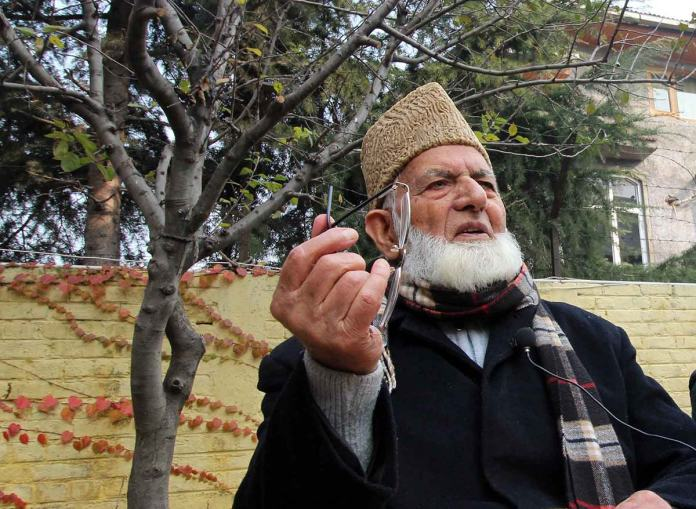 Geelani during press briefing at his Hyderpora residence on Wednesday condemning 31st PSA on Masarat Alam Bhat. (Photo: Bilal Bahadur/KL)