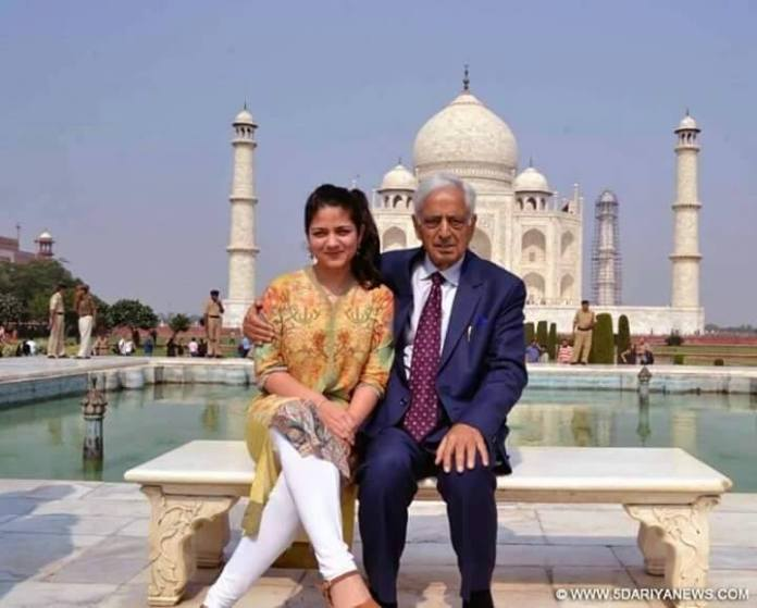 Former Jammu Kashmir Chief Minister along with his wife and daughter paid a visit to Agra on November o4, 2015 (Wednesday) with a wish to see the wonder of the world Taj Mahal. (In picture, Mufti one of his grand daughters).