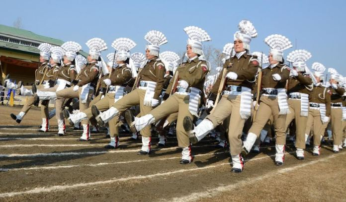 Jammu and Kashmir women police  march during the full dress rehearsal for the Republic Day parade in Srinagar, on Sunday 24 January 2016. PHOTO BY BILAL BAHADUR
