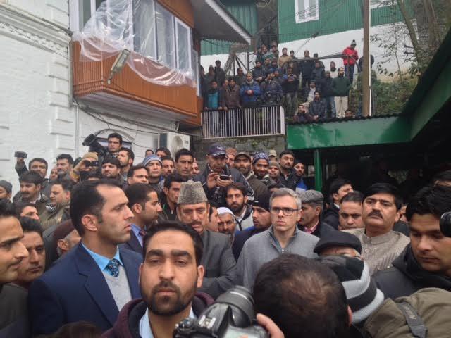Former CMs, Omar Abdullah and Gh Nabi Azad at Fairview residence.