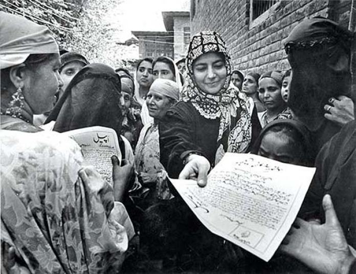 Making her father relevant to Kashmir... Courtesy: Indian Express Archives