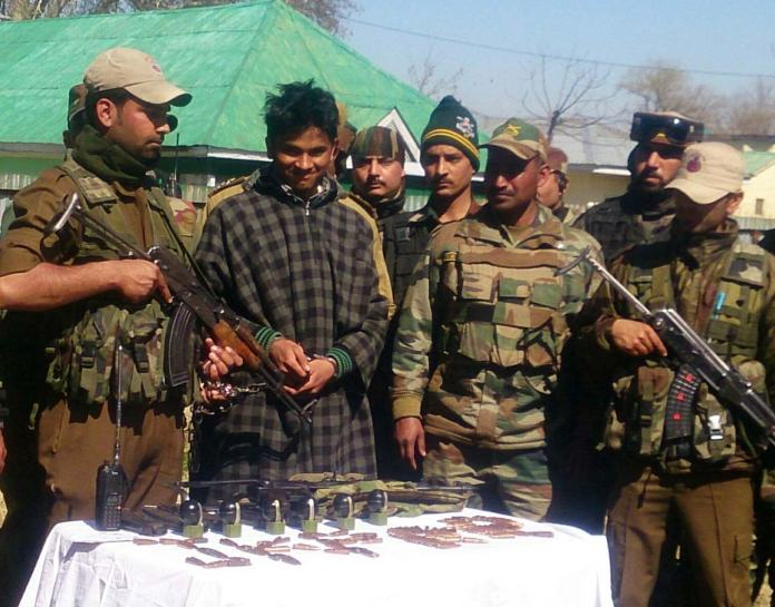 JeM militant being presented before Press.