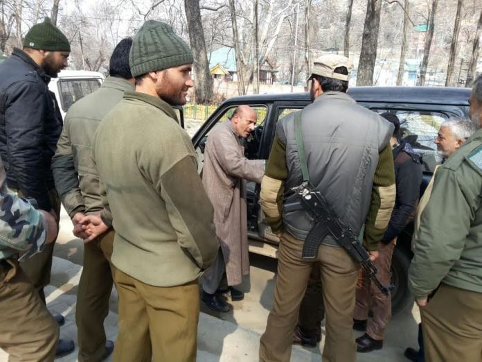 ER Rasheed beng detained by JK Police at Pantha Chowk on Tuesday. He was on his way to Pulwama.