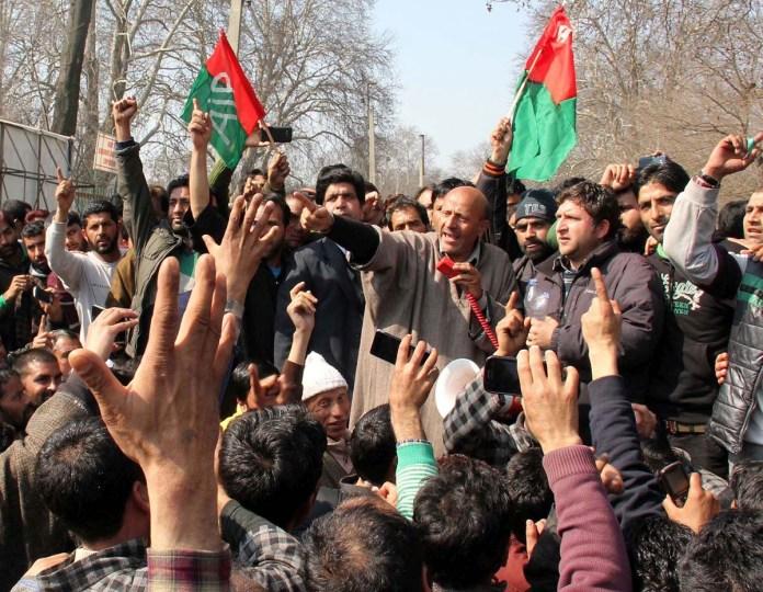 MLA Langate during protest march in Srinagar. (Photos: Bilal Bahadur)