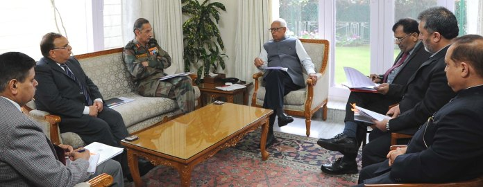 Governor reviewing Land Issues in a meeting at Raj Bhavan