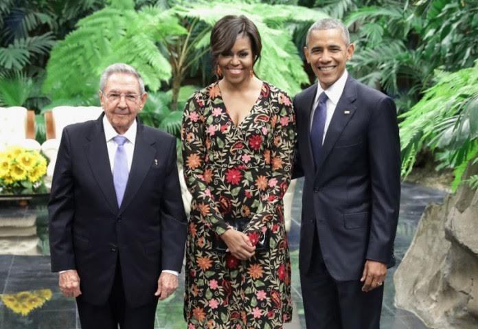 Michelle Obama (m) wearing 'Kashmiri Gown'