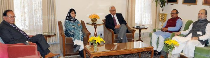PDP, BJP alliance partners met Governor N N Vohra in Jammu on March 26, 2016 to stake claim over government in J&K.