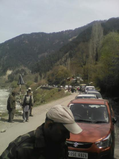 The blocked Srinagar-Muzaffarabad road in Uri