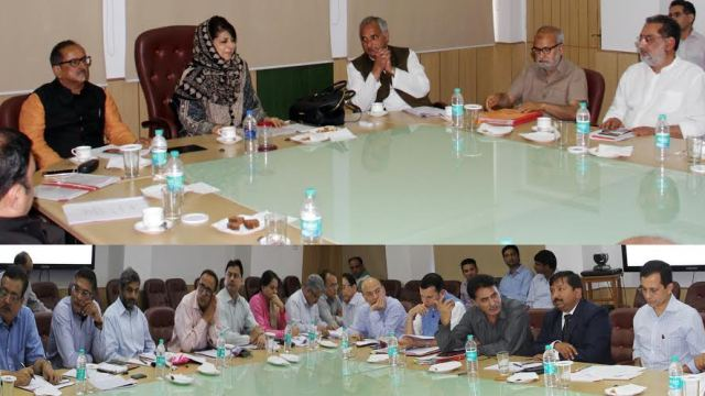 CM Ms Mehbooba Mufti chaired her maiden PDP-BJP cabinet meet in Jammu on April 11, 2016 in Jammu.