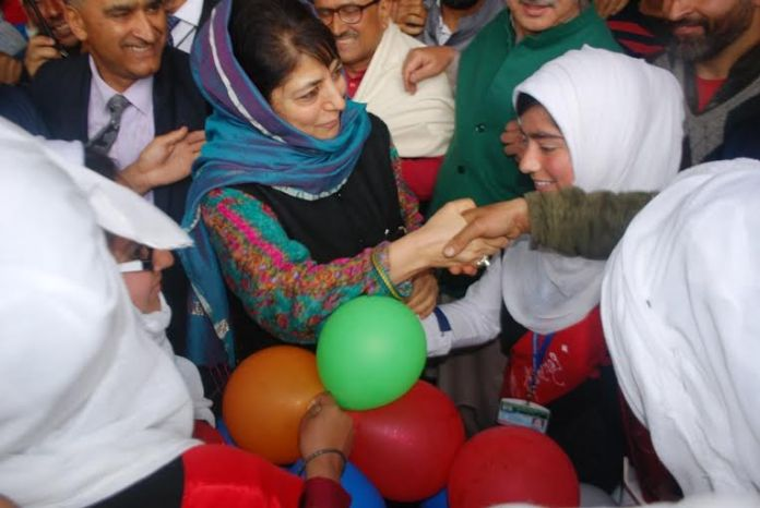 CM Ms Mehbooba Mufti interacted with school children after she inaugurated four new trains at Islamabad. (KL Image: Shah Hilal)