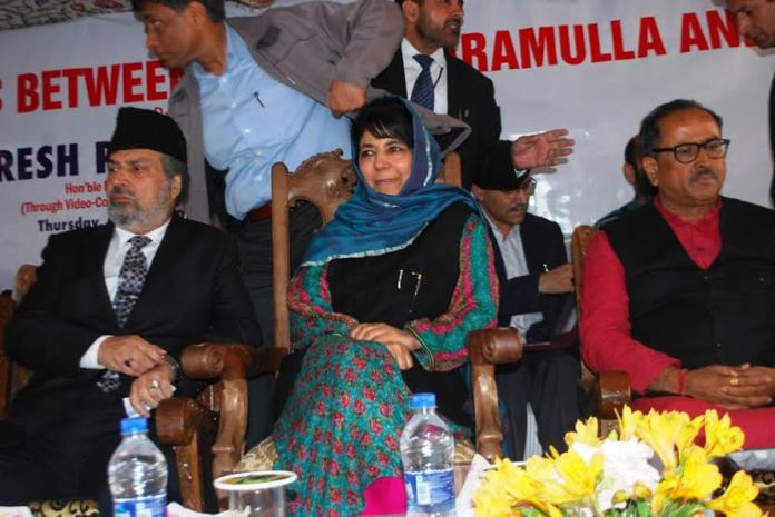 CM Mehbooba Mufti, MP Muzaffar Hussian Baig and Dy CM Dr Nirmal Singh at Islamabad when four new trains were inaugurated on May 05, 2016 photo by Shah Hilal