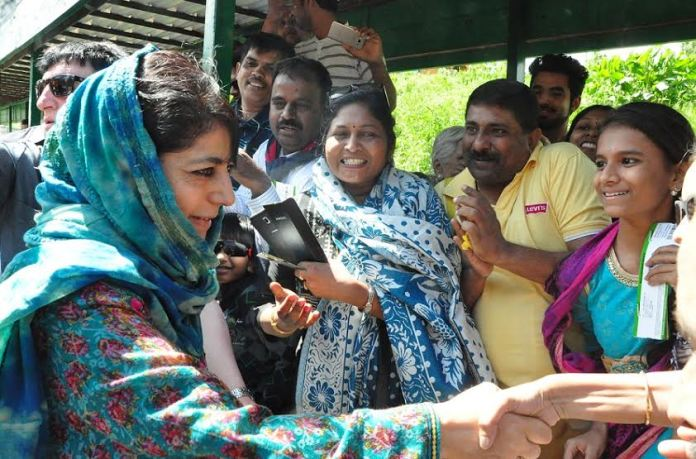 CM Ms Mehbooba Mufti in Gulmarg on May 29, 2016.