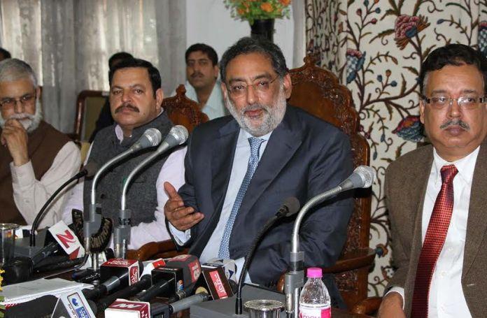 Dr Haseeb A Drabu, J&K Finance Minister, addressing media in Srinagar after presenting his second budget on May 30, 2016. (KL Image: Bilal Bahadur)