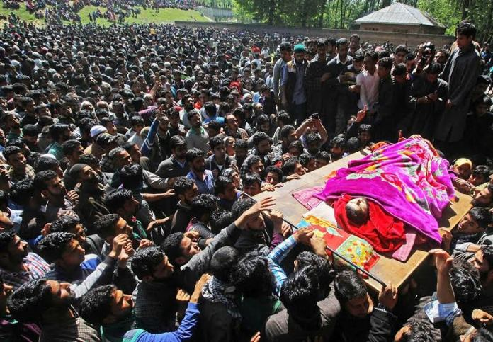 Funeral of militants killed on May 07, 2016 in Pulwama photo by Bilal Bahadur 1