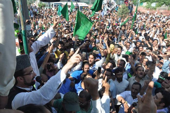 Hurriyat Conference Rally led by Mirwaiz Umar Farooq on May 20, 2016