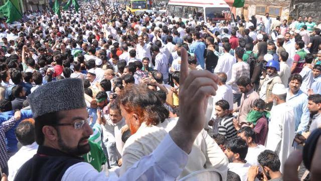 Mirwaiz Umar Farooq addressed public in Old Srinagar on Friday in this KL file Image.