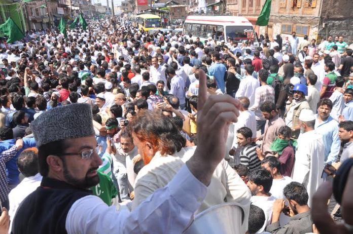 Mirwaiz Umar Farooq addressed public in Old Srinagar on Friday.